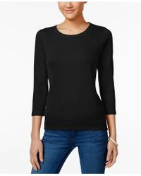Charter Club | Petite Three-quarter Sleeve Scoop-neck Top | Lyst