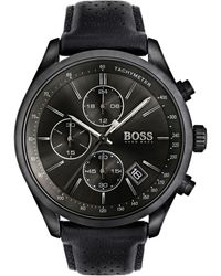BOSS by Hugo Boss Men's Chronograph Grand Prix Black Leather Strap Watch 44mm 1513474