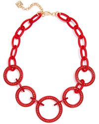 """Zenzii Crystal Circle Link Collar Necklace, 19"""" + 2"""" Extender - Red"""