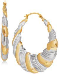 Macy's - Two-tone Puff Hoop Earrings In 14k Gold - Lyst