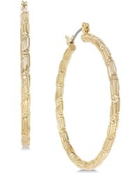 """Charter Club - Large Gold-tone Textured Hoop Earrings, 1.6"""", Created For Macy's - Lyst"""