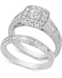 Macy's - Diamond Halo Bridal Set (1-1/4 Ct. T.w.) In 14k White Gold - Lyst