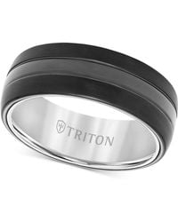 Triton - Men's Satin Finish Band In Black Tungsten Carbide - Lyst