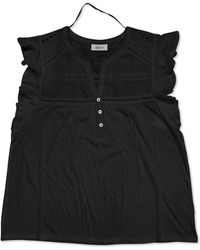 Style & Co. Eyelet Flutter-sleeve Top, Created For Macy's - Black
