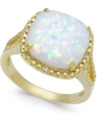 Macy's Opal (2 Ct. T.w.) & Diamond Accent Ring In 14k Gold-plated Sterling Silver - Metallic