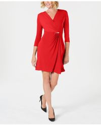 Charter Club Petite Faux-wrap Dress, Created For Macy's - Red