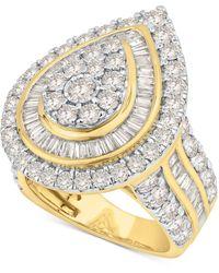 Macy's Diamond Teardrop Cluster Statement Ring (3-1/3 Ct. T.w.) In 10k Gold - Metallic