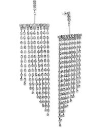 Steve Madden Rhinestone Drop Tassel Earring - Metallic