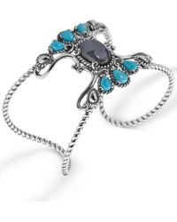 Carolyn Pollack - Labradorite And Turquoise Rope Cuff In Sterling Silver - Lyst