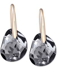 Swarovski - Rose Gold-tone Faceted Black Crystal Earrings - Lyst