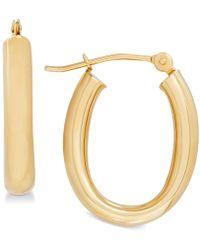 Macy's - Polished Tube Oval Hoop Earrings In 10k Gold, 4/5 Inch - Lyst
