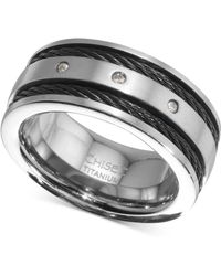 Macy's - Diamond Accent Cable Band In Titanium & Black Ion-plate - Lyst