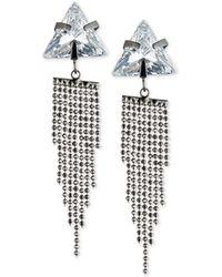 ABS By Allen Schwartz - Hematite-tone Triangle Crystal Fringe Drop Earrings - Lyst