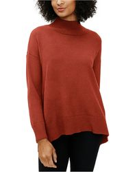 Eileen Fisher Mock-neck Drop-shoulder Sweater - Red