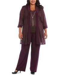 R & M Richards Plus Size 3-pc. Metallic Jacket, Metallic Necklace Top & Trousers Set - Purple