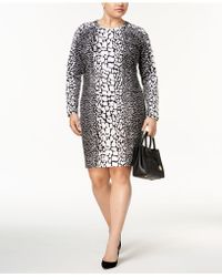 53fadc42 Lyst - Michael kors Plus Size Animal-print Dress in Blue