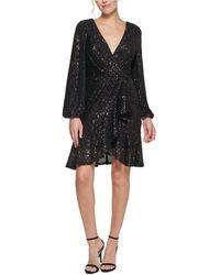 Eliza J Sequinned Faux-wrap Fit & Flare Dress - Black