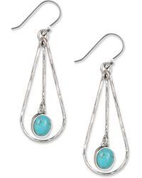Lucky Brand - Earrings, Silver-tone Turquoise Drop Oblong Hoop Earrings - Lyst