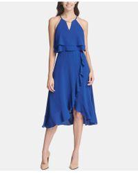 Kensie Ruffled Popover Dress - Blue
