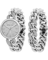 Kendall + Kylie - Silver Tone And Crystal Chain Link Stainless Steel Strap Analog Watch And Bracelet Set 40mm - Lyst