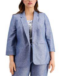 Bar Iii Plus Size 3/4-sleeve Linen Blazer, Created For Macy's - Blue