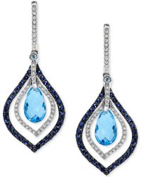Effy Collection Blue Topaz And Sapphire (4-5/8 Ct. T.w.) And Diamond (1/3 Ct. T.w.) Drop Earrings In 14k White Gold