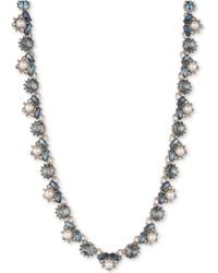 """Marchesa - Gold-tone Crystal, Stone & Imitation Pearl Collar Necklace, 16"""" + 1"""" Extender - Lyst"""