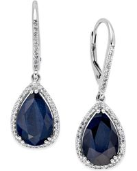 Macy's - Black Sapphire (12 Ct. T.w.) And White Topaz (1/2 Ct. T.w.) Drop Earrings In Sterling Silver - Lyst