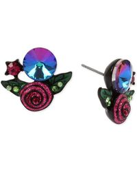 Betsey Johnson Black-tone Crystal & Glitter Rose Stud Earrings - Blue
