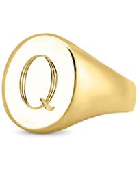 Sarah Chloe Initial Signet Ring In 14k Gold-plated Sterling Silver - Metallic