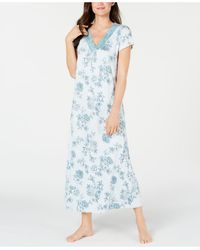 Charter Club Super Soft Knit Floral-print Nightgown, Created For Macy's - Blue