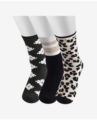 Kate Spade Forest Feline Crew Socks, 3 Pair - Multicolor