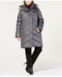 5508968395a Lyst - Michael Kors Michael Faux-fur-collar Hooded Down Puffer Coat ...