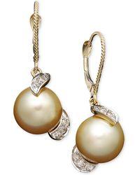 Macy's - 14k Gold Earrings, Cultured Golden South Sea Pearl (9mm) And Diamond (1/5 Ct. T.w.) Drop Earrings - Lyst
