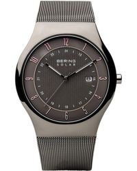 Bering Men's, Slim Solar Stainless Case And Mesh Watch - Gray