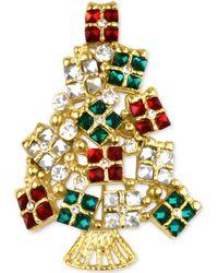 Charter Club Gold-tone Multi-crystal Gift Tree Brooch - Metallic