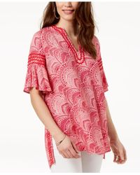 Love Scarlett - Petite Printed Flare-sleeve Top, Created For Macy's - Lyst