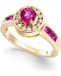 Macy's - Ruby (9/10 Ct. T.w.) & Diamond (1/5 Ct. T.w.) Halo Ring In 14k Gold - Lyst