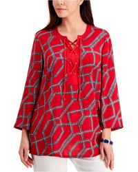 Charter Club Petite Cotton Printed Tasseled Tunic, Created For Macy's - Red