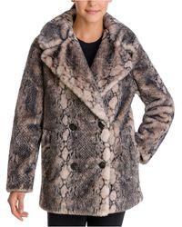 BCBGeneration Snake-embossed Faux-fur Coat - Brown