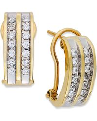 Macy's | Two-row Diamond Channel-set Hoop Earrings In 14k White Gold (3/8 Ct. T.w.) | Lyst
