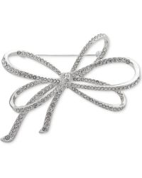 Anne Klein - Silver-tone Pavé Bow Pin, Created For Macy's - Lyst