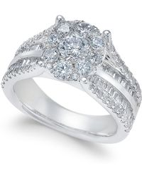 Macy's - Diamond Cluster Engagement Ring (2 Ct. T.w.) In 14k White Gold - Lyst