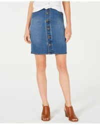 Style & Co. Button-front Denim Skirt, Created For Macy's - Blue