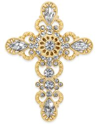 Charter Club Holiday Lane Gold-tone Crystal Cross Pin, Created For Macy's - Metallic