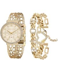 Kendall + Kylie Two-tone Gold And White Crystal 'love' Stainless Steel Strap Analog Watch And Bracelet Set 40mm - Metallic