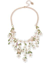 """Betsey Johnson - Rose Gold-tone Multi-stone Flower & Butterfly Statement Necklace, 15-1/2"""" + 3"""" Extender - Lyst"""