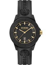 Versus Tokyo R Black Silicone Strap Watch 43mm