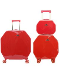 Kensie 3 Piece Gemstone 8-wheel Hardside Luggage Set With Tsa Lock And Cosmetic Case - Red