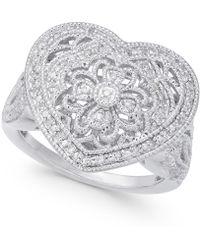 Macy's - Diamond Fancy Filigree Heart Ring (1/7 Ct. T.w.) In Sterling Silver - Lyst